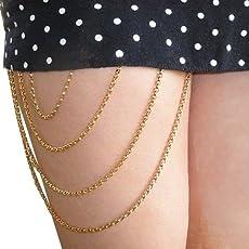Via Mazzini Golden Metal Thigh Chain Body Jewellery For Women