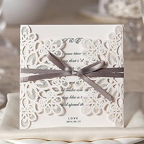 50X Wishmade Laser taglio quadrato nozze inviti carte kit con Bowknot avorio fiore carta cartoncino della cavità per fidanzamento Bridal Shower Baby doccia compleanno laurea WM207
