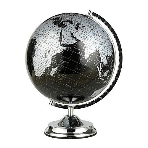 WPFC Weltkugel (Durchmesser 27 cm) - Geografie Lernen/Moderne Tischdekoration - mit Metallbasis - Metallhalterung-Metallic Schwarz (Durchmesser 27 cm),S