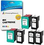 Printing Pleasure 6 Druckerpatronen für HP Photosmart 2570 2573 2575 2605 2610 2710 8050 8150 8450 8750 DeskJet 5740 5940 5950 6540 6840 6940 6980   kompatibel zu HP 339 (C8767EE) & HP 344 (C9363EE)