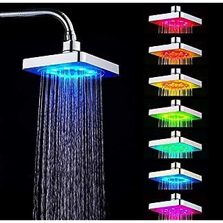 Cabezales de ducha – Kit de cabezales de ducha Cabezales de ducha cuadrados para baño en el hogar con luz romántica de 7 colores LED
