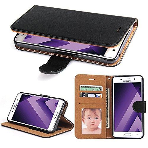 Galaxy A5 2017 Hülle, SOWOKO Leder Etui Flip Case Handyhülle für Samsung Galaxy A5 (2017) Brieftasche Tasche mit Integrierten Kartensteckplätzen und Ständer /Magnetverschluss, Schwarz (Schwarz Brieftasche Geldbörse)