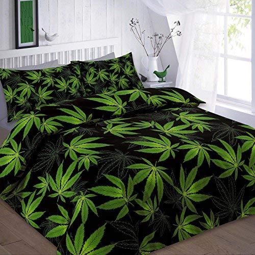 Voice7 Cannabis Hoja de Marihuana Weed Funda de edredón Set ~ con Libre Funda de Almohada Casos ~ plycotton Stuff Reino Unido tamaños, Black- Cannabis, Matrimonio