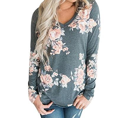 Xjp Women Casaul Floral Printed V Neck Curved Hem Long Sleeve T Shirt Tops