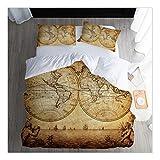 CSYPYLE Bettwäsche-Sets Kreative Weltkarte Muster Komfortable Weiche Bettlaken Kissenbezug Schlafzimmer Bettwäsche Kit, 140 cm X 210 cm