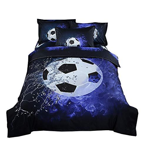 YGMDSL Bettfutter 3-teiliges Set 3D Sportlicher Stil Basketball Fußball Polyester(1 Bettbezug 2 Kissenbezüge),A,180 * 210cm