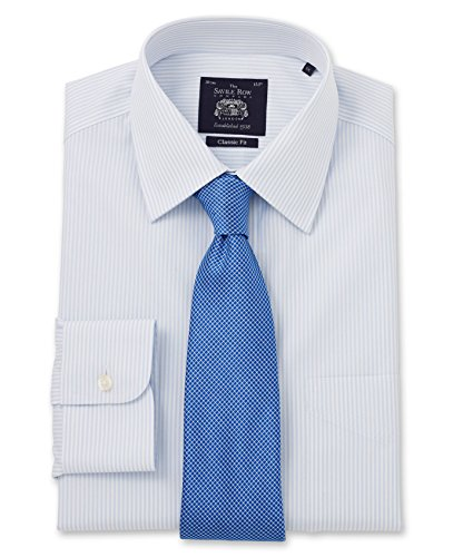 Savile Row Men's Non-Iron Light Blue White Bengal Stripe Classic Fit Shirt Single Or Double Cuff 15 1/2