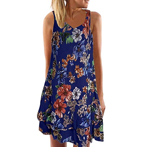 SEWORLD Kleid Damen Sommerkleid Abendkleid Strandkleid Party Kleider Ärmelloses Boho Kleid mit V-Ausschnitt Lose T-Shirtkleid Gedrucktes Minikleid Neckholder Kleider(Marine,EU-46/CN-4XL)