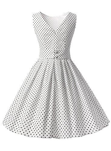 Dressystar Robe à 'Audrey Hepburn' Classique Vintage 1950S Style Blanc à pois noir A