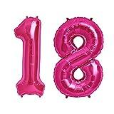 Simplydeko Folienballon Zahlen Set | Zahlenballons zum Geburtstag | Zahlen-Luftballons (Zahlenset 18 in Pink (41cm))