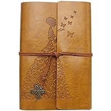 Wenosda Cuaderno de escritura Vintage/Bloc de notas Patrón de mariposa Sketchbook de cuero retro
