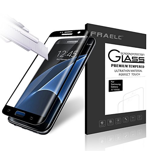 Fraelc® Samsung Galaxy S7 Edge Folie, 9H Hardness Panzerglas Full Cover Schutzfolie für Samsung Galaxy S7 Edge SM-G935F Displayschutzfolie (Schwarz)