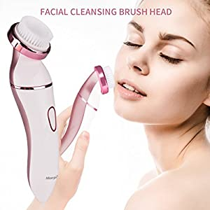 Ladies Electric Shaver, 4 in 1 Rechargeable Facial Razor, Bikini Trimmer, Face Cleaning Brush - Morpilot Wet Dry Use Hair Remover for Legs, Armpit(Manicure Set as Gift)