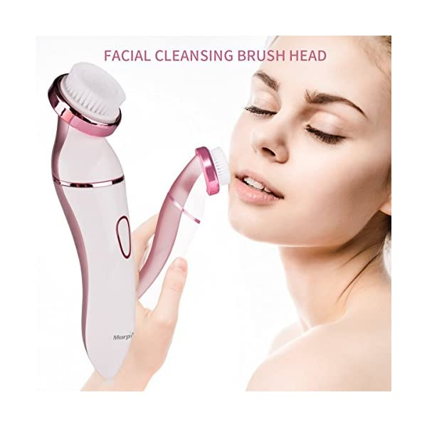 Ladies Electric Shaver 4 In 1 Rechargeable Facial Razor Bikini Trimmer Face Cleaning Brush Morpilot Wet Dry Use Hair Remover For Legs ArmpitManicure Set As Gift