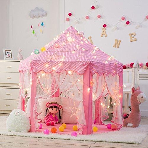 Niedliche Mädchen Mit (DeceStar Niedliche rosa Prinzessin Castle Kids Indoor Playhouse, Kommt mit dem Licht)