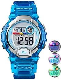 Relojes de Pulsera Digitales para niños niñas, 5ATM Reloj Deportivo a Prueba de Agua para niños con Alarma/LED Luminoso Relojes de Pulsera Digitales para niños, cumpleaños Azul