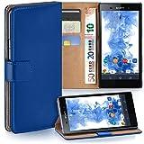 moex Sony Xperia Z2 | Hülle Blau mit Karten-Fach 360° Book Klapp-Hülle Handytasche Kunst-Leder Handyhülle für Sony Xperia Z2 Case Flip Cover Schutzhülle Tasche