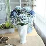 Longra Wohnaccessoires & Deko Kunstblumen Künstliche 5 Stück Künstliche Fake Rosen Flanell Blume Bridal Bouquet Hochzeit Party Home Decor Blume (D2: 1 Strauß 7 Köpfe)