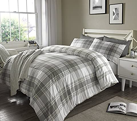 Pieridae Complete Grey Check Stripes Ticking Duvet Cover & Pillowcase 4 Pieces Set Bedding Digital Print Quilt Case Single Double King Bedding Bedroom Daybed (King) by Pieridae