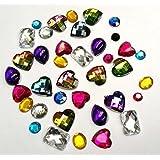 80 mélangées Strass Diamante Gemme Formes Décorations De Carte Dos Plat
