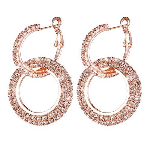 Meclelin Geometrische Ohrringe,Damen Anhänger Ohrringe,Lange Ohrringe, Runde Diamanten Ohrringe (Rose Gold)