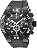 Invicta Men's Quartz Watch with Black Dial Chronograph Display and Black PU Strap