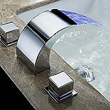 moderne 3Cambiare colore del LED cascata rubinetto lavabo in ottone cromato lavandino rubinetto miscelatore bicomando Miscelatore rubinetto da bagno F. bagno bagno vasca da bagno Hotel 2rotonda leva 3fori