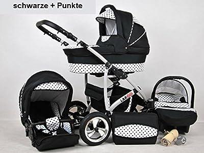Kinderwagen Largo, 3 in 1- Set Wanne Buggy Babyschale Autositz (schwarz + punkte)