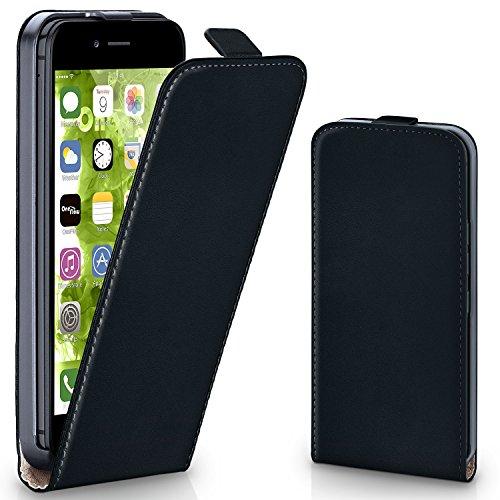 MoEx iPhone 6S Hülle Schwarz [OneFlow 360° Klapp-Hülle] Etui thin Handytasche Dünn Handyhülle für iPhone 6/6S Case Flip Cover Schutzhülle Kunst-Leder - Vertikal Case Leder 6 Iphone