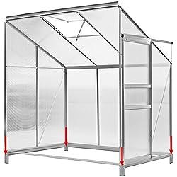 Deuba Beistell Gewächshaus 3,65 m² I UV Schutz I lichtdurchlässig I Aluminium I rostfrei I Regenrinne I Fundament I Gewächshaus Treibhaus Frühbeet