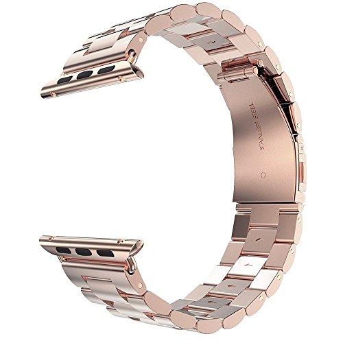 Armband Ersatzband Uhrenarmband passend für Apple Watch iWatch Series 2 3 4 Farbauswahl und Größenauswahl (38mm / 40mm, Rosegold)
