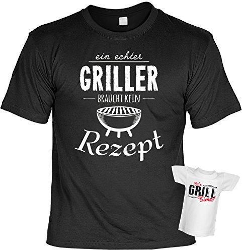 Grillset - T-Shirt Grillen + Flaschenshirt : Ein echter Griller braucht … - Set: Funshirt + Mini Shirt Farbe: schwarz Schwarz