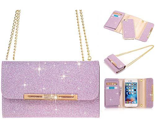 iPhone 6Plus Brieftasche Fall, La go go Luxus Bling Kristall Strass Handtasche Glitzer Leder Portemonnaie Flip Karte Pouch Stand Schutzhülle für iPhone 6S Plus, violett, iPhone 6 Plus/6s Plus (Brieftasche Handtasche Fall)