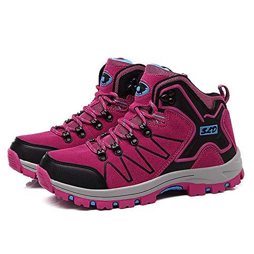 Scarpe da Escursionismo Scrape da Donna Invernali Trekking Arrampicata Sportive All'aperto Escursionismo Sneakers Leggero e Traspiranti Passeggio Antiscivolo,Rosa Rossa,38EU
