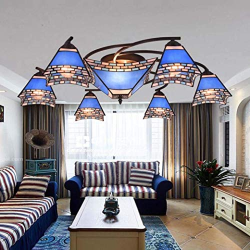 Tiffany-Stil Deckenleuchte/Lampe Mediterran Mehrkopf-Glasmalerei/Schwalbenschwanz-Design Deckenleuchte/Lampe Wohnzimmer Esszimmer Schlafzimmer Moderner Großer Kronleuchter, BOSS LV - Standard Schwalbenschwanz