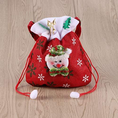 Huayer Tragbare Goodies-Taschen-Ideen-Party-Taschen Weihnachten Süßigkeiten Taschen Schneemann Kordelzug Geschenk Sack Goodie Tasche Tasche süße Süßigkeiten Xmas Stocking Handtasche (rot)