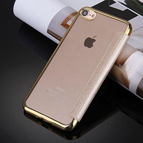 Proteggi il tuo iPhone, Per iPhone 7 Cross Texture Galvanotecnica TPU Back Cover Case del cuoio di vibrazione orizzontale con Call visualizzazione ID Per il cellulare di Iphone ( Colore : Bianco ) Oro