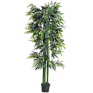 Outsunny Bambú Artificial 180cm con Cañas Naturales Árbol Planta Sintética Decorativa con Maceta Casa Jardín Decoración PE
