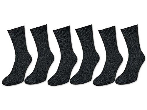 6 Paar Norweger Socken mit Wolle in Grau oder Anthrazit Herrensocken - AD220 (43-46, 6 Paar   Anthrazit) - 2