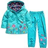Wulide Niños Chubasquero para niña con capucha + pantalones de lluvia, otoño, niña, color azul, tamaño 116