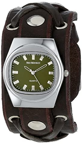 Red Monkey Designs Unisex RM666-XA3 X-Strap 3 Brown Leather Olive Dial Watch