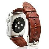 Jisoncase ECHTLEDER Apple Watch 38 mm Armband mit hochwertigem Edelstahl Adapter Krokodil Muster Uhrenarmband Braun Leder Armbänder