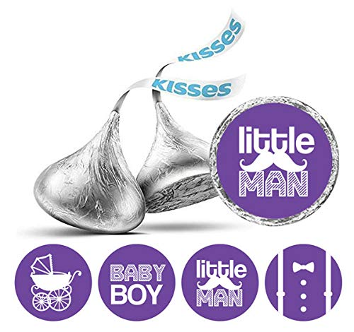 Darling Souvenir Hershey Kisses Süßigkeit Labels Little Man Runde Sticker 190 Stück Partei Fabor-Lila