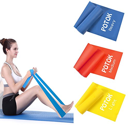 Potok Resistance Physical Therapy Band Set, Best Flat Exercise/Fitness Bands 4 Ft/1.2M Long, 6 Inches/15CM Wide (3 Piece Set) Ideal for Rehab and Physical Therapy, Pilates, Fitness, Crossfit and many others