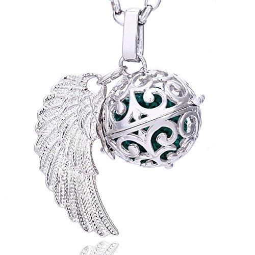 Morella® Damen Halskette Edelstahl 70 cm mit Anhänger Engelsflügel und Klangkugel dunkelgrün Ø 16 mm in Schmuckbeutel