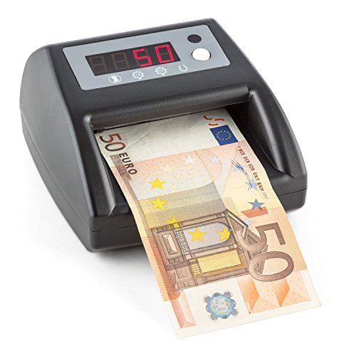 DURAMAXX Pinkerton Geldscheinprüfer Banknotenprüfer Geldscheinzähler Echtheitsprüfer mit 4 Sicherheitsmerkmale (Bild / UV / IR / Magnetfeld, LED Display, Währung: Euro) schwarz