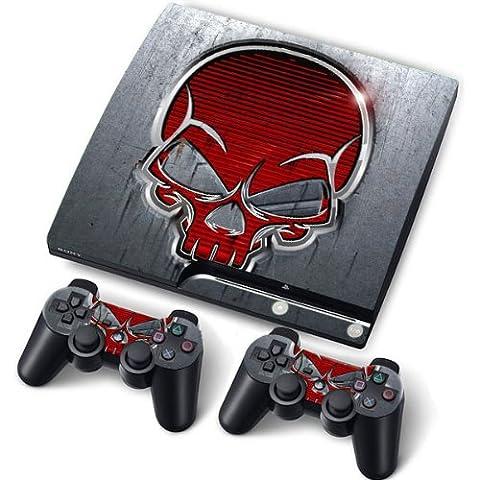 PS3 Slim PlayStation 3 Slim Skin Aufkleber PVC für Konsole + 2 Controller / Pads Schutzfolie Aufkleber Cover Art Leder (Zubehör Ps3)