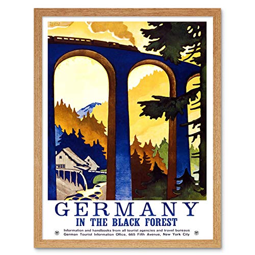 Wee Blue Coo LTD Travel Black Forest Germany Viaduct Train USA Vintage Advertising Art Print Framed Poster Wall Decor Kunstdruck Poster Wand-Dekor-12X16 Zoll