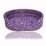 #5: Nest 9 Cushion Pad Comfortable Bed For Cat /Dog - Purple Leopard(Large)