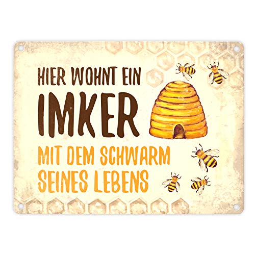 trendaffe Imker mit Schwarm seines Lebens Blechschild in 15x20 cm - Metallschild Reklameschild Dekoschild